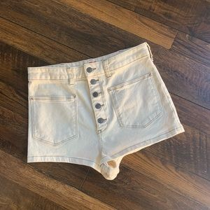 Free People high rise button up cream jean shorts